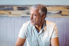 Thoughtful man looking away in coffee shop Royalty Free Stock Photography