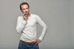 Thoughtful man looking towards copyspace Stock Images