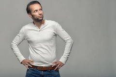 Thoughtful man looking towards copyspace Stock Photos