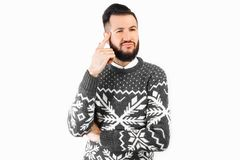 Thoughtful man, a man with a beard, who thinks about something. Human emotions stock photos