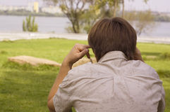 Thoughtful man outdoor close-up Stock Image