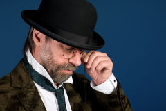 Thoughtful man in pince nez Royalty Free Stock Photography