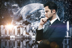 Thoughtful man in space Royalty Free Stock Photography