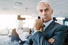 Thoughtful mature businessman staring at camera. Portrait of mature businessman standing in office and staring at camera. Thoughtful senior professional with Royalty Free Stock Image