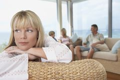 Thoughtful Mature Woman At Home Royalty Free Stock Image