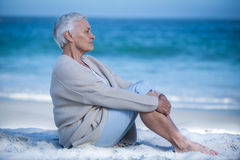 Thoughtful mature woman meditating Royalty Free Stock Photography