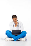 Thoughtful medical worer Stock Images