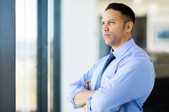 Thoughtful mid age businessman royalty free stock images