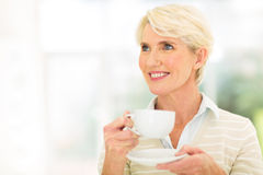 Thoughtful mid age woman Stock Images