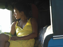 Thoughtful Mixed Race Woman In Rickshaw Royalty Free Stock Image