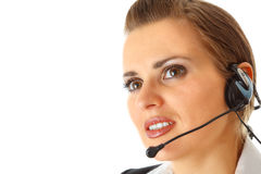 Thoughtful modern business female with headset Stock Photos