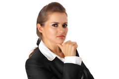 Thoughtful modern business woman. Isolated on white stock photos