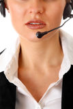 Thoughtful modern business woman with headset Royalty Free Stock Photo