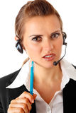 Thoughtful modern business woman with headset Royalty Free Stock Image