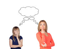 Thoughtful Mother and daughter Stock Photography