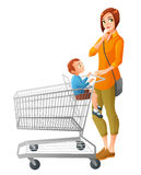 Thoughtful mother with son sitting in shopping cart. Vector illustration. Thoughtful young mother with little boy sitting in shopping cart. Cartoon vector Stock Photography