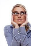 Thoughtful Office Woman with Hands on the Face Royalty Free Stock Photography