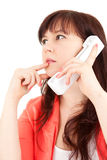 Thoughtful overweight assistant speaking on phone Stock Photos