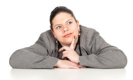Thoughtful overweight, fat businesswoman Stock Photography