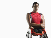 Thoughtful Paraplegic Cycler Royalty Free Stock Images