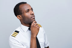 Thoughtful pilot. Stock Image