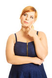 Thoughtful plus size woman Royalty Free Stock Photo