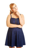 Thoughtful plus size woman Stock Images