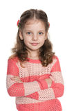 Thoughtful pretty preschool girl stock image