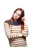 Thoughtful red haired girl Stock Image