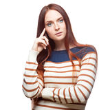 Thoughtful red haired girl Stock Photography