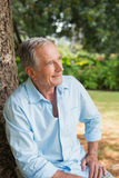 Thoughtful retired man sitting on tree trunk Royalty Free Stock Photos