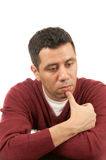Thoughtful sad man. Portrait of a thoughtful sad man isolated on pure white background Stock Photography