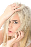Thoughtful Sad Stressed Young Woman Looking Anxious and Unhappy Stock Photography