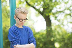 Thoughtful sad teenager boy outdoor Royalty Free Stock Photos