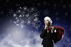 Thoughtful Santa woman Royalty Free Stock Photo