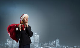Thoughtful Santa woman Stock Photos