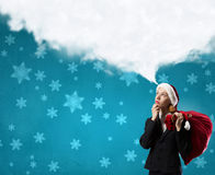 Thoughtful Santa woman Royalty Free Stock Images