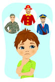 Thoughtful schoolboy thinking about future occupation like a fireman, postman or soldier. Thoughtful cute schoolboy thinking about future occupation like a Royalty Free Stock Photo