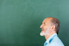Thoughtful senior male teacher. Or businessman standing thinking in front of a blank green chalkboard with copyspace, head and shoulders profile view Royalty Free Stock Photo