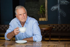 Thoughtful senior man holding coffee cup. At cafe shop Royalty Free Stock Image