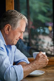 Thoughtful senior man holding coffee cup at table. In cafe shop Royalty Free Stock Photos
