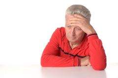 Thoughtful senior man Stock Photo