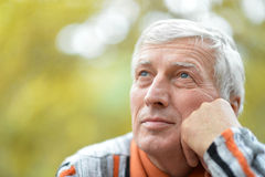 Thoughtful senior man  in  park Stock Images
