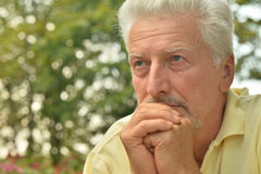 Thoughtful senior man  in  park Stock Image