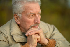 Thoughtful senior man  in  park Stock Photography