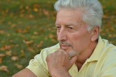 Thoughtful senior man  in  park Royalty Free Stock Photos