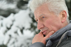 Thoughtful Senior man Stock Photography