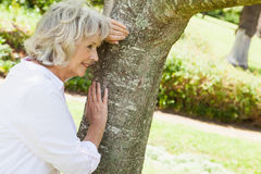 Thoughtful senior woman leaning to tree at park Royalty Free Stock Image
