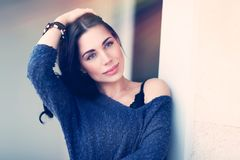 Thoughtful sensitive woman royalty free stock images