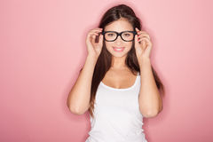Thoughtful shapely brunette woman Stock Image